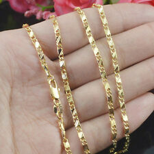 Filled Yellow Gold Necklace/Craved Lucky Men&Women Chain Necklace Jewelry Gift
