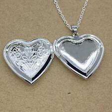 Without Necklace Vintage Photo Charm Love Heart Locket Pendant Silver Plated