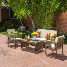 Wood Patio Furniture Set Gray Loveseat Sofa Chairs Cushions Outdoor Garden Table