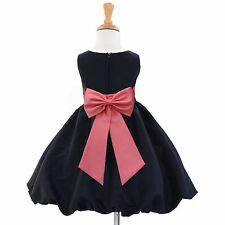 WEDDING FLOWER GIRL DRESS BLACK TAFFETA PAGEANT FORMAL PARTY 12M 18M 2 4 6 8 10