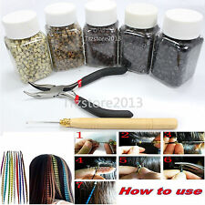 Silicone Micro Link Beads +Pot Hook Pliers+ hook Tool For Feather Hair Extension