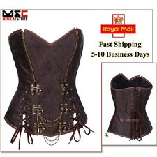 Brown Gothic Basque Corset Burlesque Overbust Waist Cincher Lingerie Corset Top