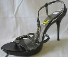 LADIES SPOT ON DIAMANTE BLACK HEELED (ANKLE STRAP) SHOES