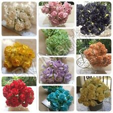 50 Artificial Mulberry Paper flowers Handmade Scrap-booking Craft Rose 3 cm.