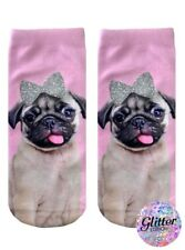 Pug With Glitter Bow Ankle Socks dog doggy sparkle pink women girls one size