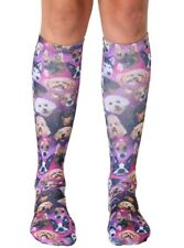 Galaxy Puppy Knee High Socks dog lover outer space women's funny gift