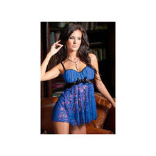 Coquette Blue Satin and Mesh Babydoll and G-String 1088 Blue/Black