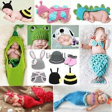 Newborn Baby Crochet Knit Costume Clothes Photo Photography Prop Hat Cap LM