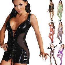 Women Sexy lingerie Jumpsuits Clubwear Stripper Patent leather Underwear Hot