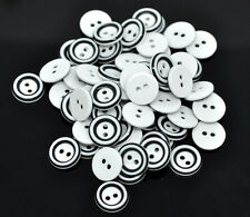 50/100PCS 2 Holes Resin Buttons Fit Sewing black and white buttons 13mm buttons