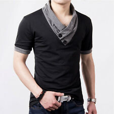 Plus Size Mens Summer Casual T-shirt Fashion Slim Short Sleeve V Neck T Shirt