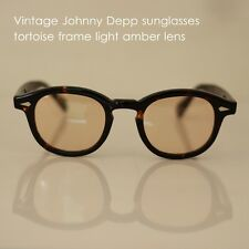 Retro Vintage Johnny Depp sunglasses mens tortoise frame light amber lens women