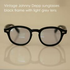 Retro Vintage Johnny Depp sunglasses mens black frame light grey lenses women
