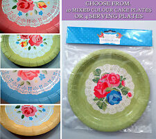 VINTAGE TEA PARTY PAPER PLATES 4 Round Serving 10 Multicoloured Cake DOILY ROSES