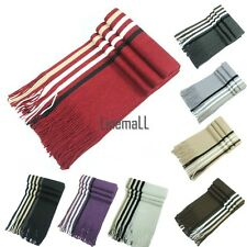 New Men Knit Scarf Stole Shawl Wrap Striped Fringed Long Soft Warm Winter LM