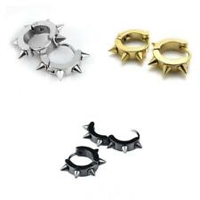 Punk Stainless Steel Spike Circle Huggie Hoop Earring Ear Stud for Women Men