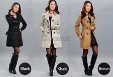 New Women's Slim Fit Trench Charm Double-breasted Coat Fashion Jacket Outwear OK