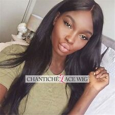 6A Indian Remy Human Hair Lace Front Wigs Silky Straight Glueless Full Lace Wig