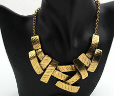 Fashion Jewelry Gold Silver Plated Geometry Pendant Chain Chunky Bib Necklace