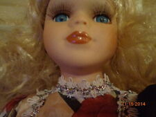 PORCELAIN VICTORIAN DOLL COLLECTIBLE peach outfit gorgeous