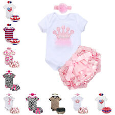 3PCS Newborn Baby Girls Romper + Headband +Ruffle Pants Outfit Jumpsuit Bodysuit