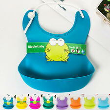 Infant Waterproof Silicone Feeding Lunch Bibs Saliva Unisex Kids Aprons Baby New