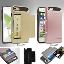 Slide Card Holder Pocket Shockproof Slim Wallet Case Cover for iPhone 6 6s 7plus