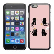 Hard Phone Case Cover Skin For Apple iPhone Cute Black Cat Illustration