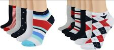 New Tommy Hilfiger Women's Socks Malibu Stripe Campus Argyle Ped True Red 6pairs