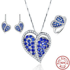 Free Jewelry Box Sapphire Ring+Pendant+Earrings 925 Sterling Silver Jewelry Sets