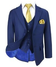 Boys Navy and Gold Suit in 3 or 5 PC Pageboy Boy Wedding Prom Party Suits