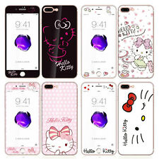 Cute Hello kity Front + Back Tempered Glass Film for Apple iPhone 6 6S 7 / Plus