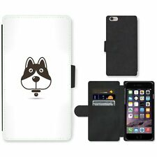 Phone Card Slot PU Leather Wallet Case For Apple iPhone Vector Dog Icon
