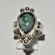 Green Tourmaline 8.78ct Tear Drop Cabochon Sterling Silver Handcrafted Ring