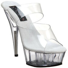 "PLEASER DELIGHT-602 Women 6"" Stiletto High Heel Two Band Platform Slide On Mule"