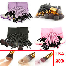 PRO 32pcs Pink/Purple/Black MakeUp Cosmetic Make-up Brushes Kit Set Case USA