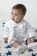 Baby Boys 2 Piece Christening Outfit / Romper Christening Suit White/Ivory