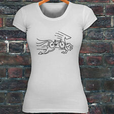 CYCLING HORSE BIKE ROAD MOUNTAIN BICYCLE RACE Womens White T-Shirt