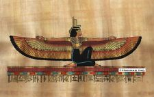"""Egyptian Papyrus Painting - Winged Maat 8X12"""" + Hand Painted #93"""