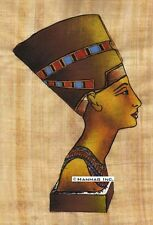 "Egyptian Papyrus Painting - Queen Nefertiti 8X12"" + Hand Painted #19"