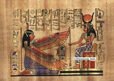 "Egyptian Papyrus Painting - Isis and winged Maat 8X12"" + Hand Painted #41"