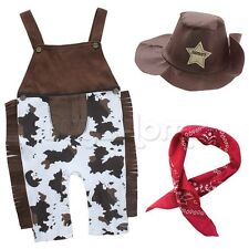 Infant Baby Boy Western Cowboy Fancy Costumes 3PCS Overalls Hat Outfit Photo Set