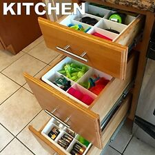 Plastic Kitchen Drawer Organizer Desk Home Storage Divider Tray Utility Jewelry