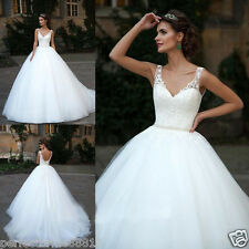 New Tulle Lace V-neck Wedding Gown Bridal Long Dress White/Ivory Custom Size6-18