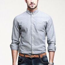 Cotton Mens Long Sleeve Botton Front Pointed Collar Striped Casual Shirt TC-8135