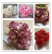 20 Artificial Mulberry Paper flowers Handmade Scrap-booking Wedding Rose 4.5 cm
