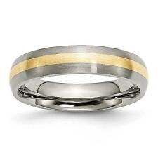 Titanium 14k Gold Inlay 5mm Brushed Band Ring - Ring Size: 6 to 13