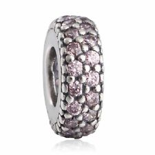 authentic 925  sterling silver Pink AAA CZ Pave Big Hole Crystal Spacer Beads