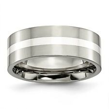 Titanium Sterling Silver Inlay 8mm Polished Band Ring - Ring Size: 6 to 13