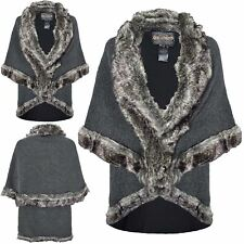 Ladies Womens Fur Faux Winter Trim Jacket Warm Lush Towie Coat Wrap Poncho Cape